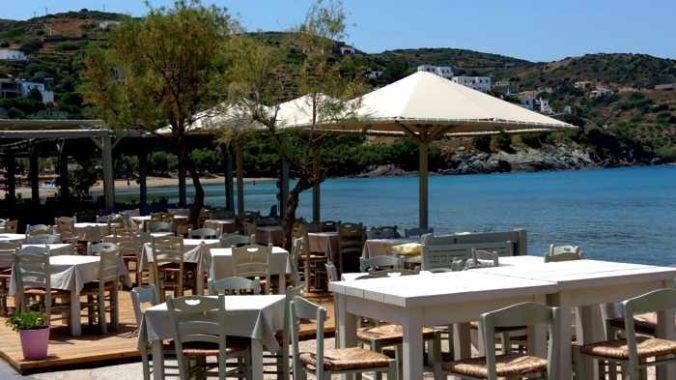 Greece, Greek Islands, Cyclades, Siros, Syros, Syros island, Kini Bay, Kini Beach, restaurant, Allou Yialou,waterfront, seafront, coast, shore,, patio, veranda, terrace
