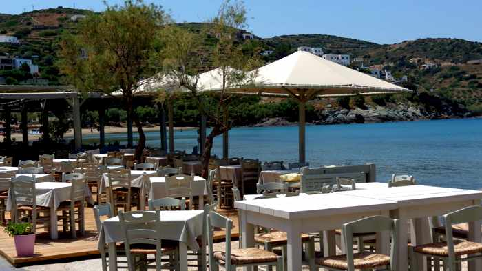 Greece, Greek Islands, Cyclades, Siros, Syros, Syros island, Kini Bay, Kini Beach, restaurant, Allou Yialou,waterfront, seafront, coast, shore,, patio, veranda, terrace