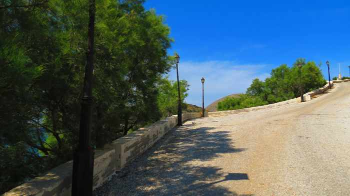 Greece, Greek islands, Cyclades, Siros, Syros, Kini, Kini Syros, Lotos, Lotos beach, Lotos beach Syros, beach road, road, hill