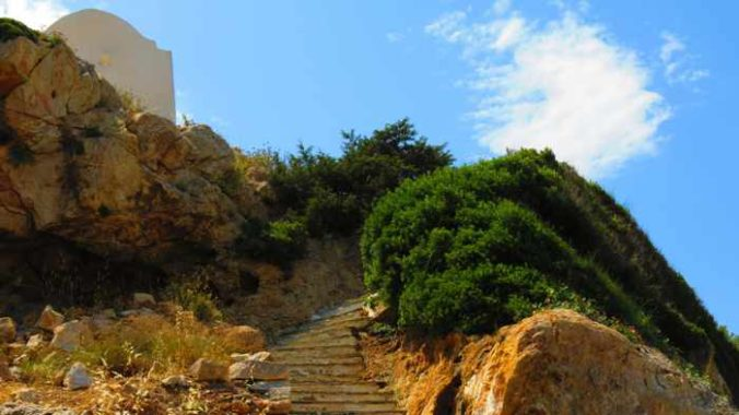 Greece, Greek islands, Cyclades, Siros,Syros, Syros island, Galissas,, church, Agia Pakou, Agia Pakou church Galissas, steps, stairs, hill