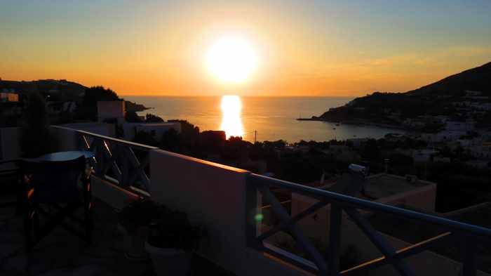 Greece, Greek islands, Cyclades, Siros, Syros, Syros island, Kini Bay, Kini, Kini Bay on Syros, Kini Bay Rooms & Apartments, accommodations, veranda view, terrace view, patio view, sunset, sunset view,