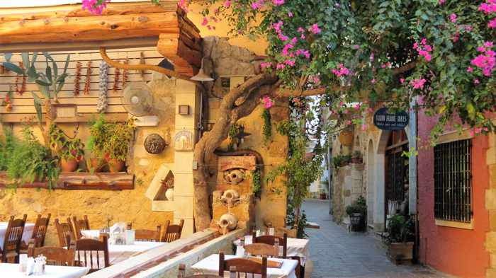 Greece, Greek islands, Crete, Chania, street, lane, courtyard, taverna, restaurant,