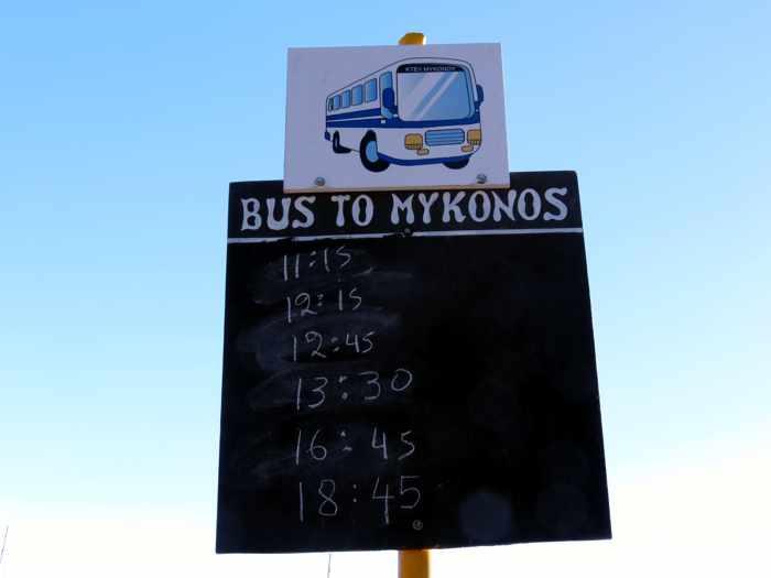 Greece, Greek islands, Cyclades, Mikonos, Mykonos, Tourlos, Mykonos bus,bus stop, bus timetable, Tourlos bus