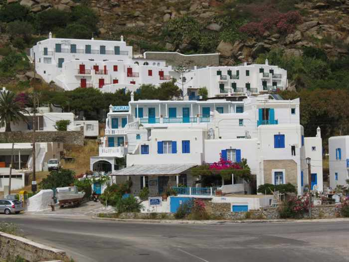 Greece, Greek islands, Cyclades, Mikonos, Mykonos, Tourlos, buildings, hotels, apartments, accommodations