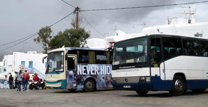Greece, Greek islands, Cyclades, Mikonos, Mykonos, Mykonos bus, Mykonos bus system, KTEL Mykonos bus, Mykonos bus transport, Mykonos local bus service,