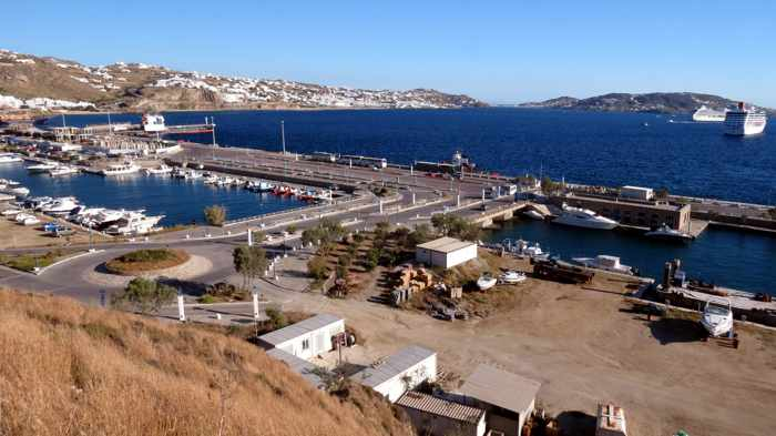 Greece, Greek island, Cyclades, Mikonos, Mykonos, ferry port, Mykonos port, Mykonos New Port, Mykonos new ferry port, ferry port, Tourlos, Tourlos ferry port, ferry travel,