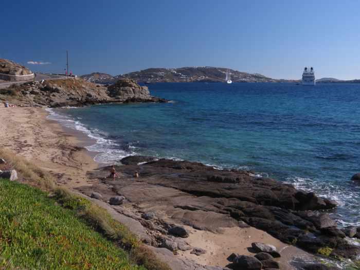 Greece, Greek islands,Cyclades, Mikonos, Mykonos, Tourlos,Tourlos beach, beach, coast, seaside, shore, bay, sea, water,