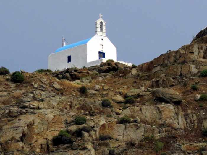 Greece,Greek islands, Cyclades, Mikonos,Mykonos, cliff, hill, rock, church,chapel, building