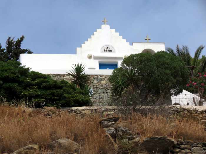 Greece, Greek islands, Cyclades, Mikonos, Mykonos, church, building, hillside