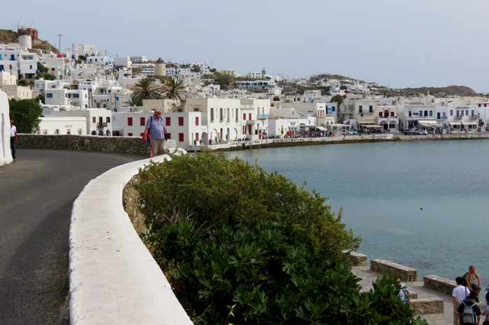 Greece, Greek islands, Cyclades, Mikonos, Mykonos, Mykonos Town, Mykonos Chora, buildings, waterfront, harbour, harbourfront, Mykonos harbour, Mykonos harbourfront,