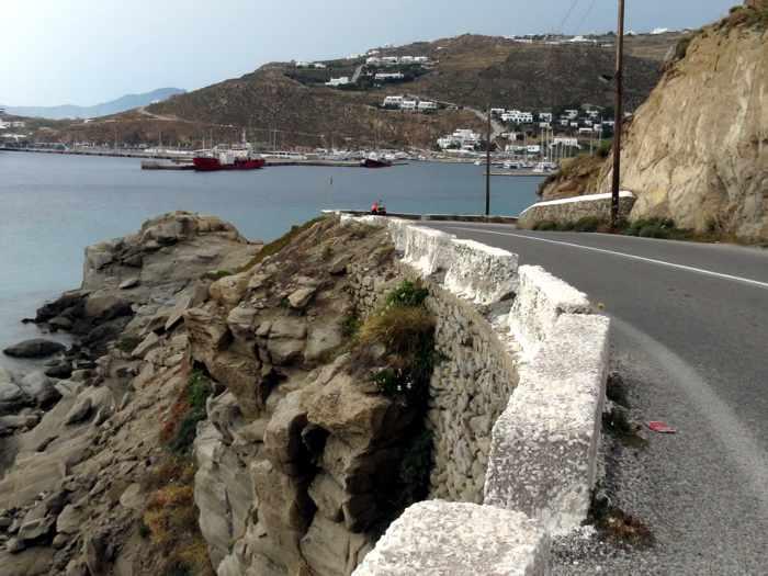 Greece, Greek islands, Cyclades, Mikonos, Mykonos, road, coast, seaside, Tourlos