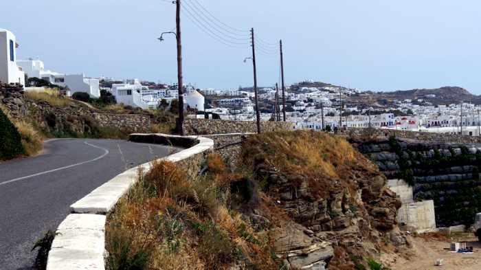 Greece, Greek islands, Cyclades, Mikonos, Mykonos, Mykonos roads, walking on Mykonos, Mykonos New Port road, New Port road to Mykonos Town
