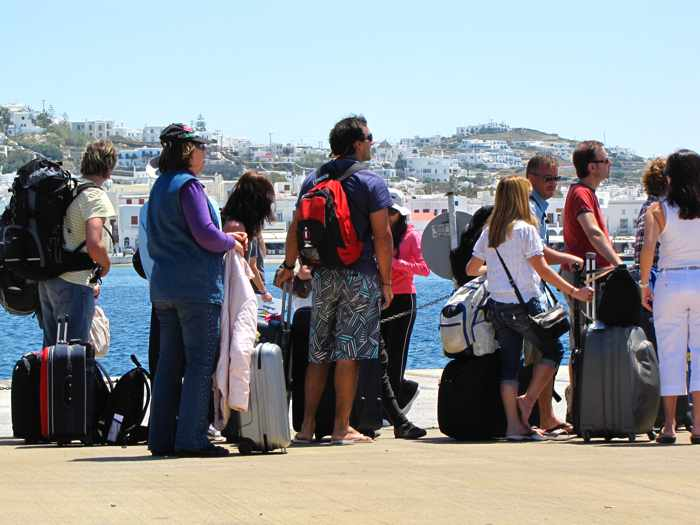 Greece, Greek island, Cyclades, Mikonos, Mykonos, Mykonos ports, Mykonos Old Port, Mykonos Town port, ferry port, ferry, tourists, ferry passengers, travellers, people