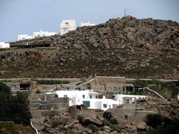 Greece, Greek islands, cyclades, Mikonos, Mykonos, Tourlos, cliffs, rock, hills, villas, houses