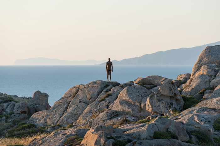 A sculpture from the Sir Antony Gormley SIGHT exhibition on Delos island seen in a photo from the NEON page on Facebook
