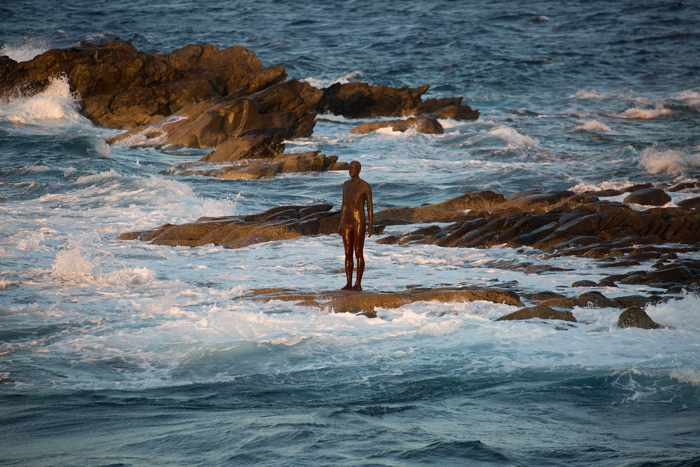 An Antony Gormley sculpture on the coast of Delos island seen in a photo from the NEON page on Facebook
