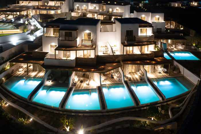 Aegon Mykonos night view photo from the hotel page on Facebook