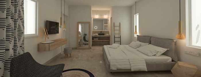 Apiro Mykonos hotel website photo of a standard triple room interior