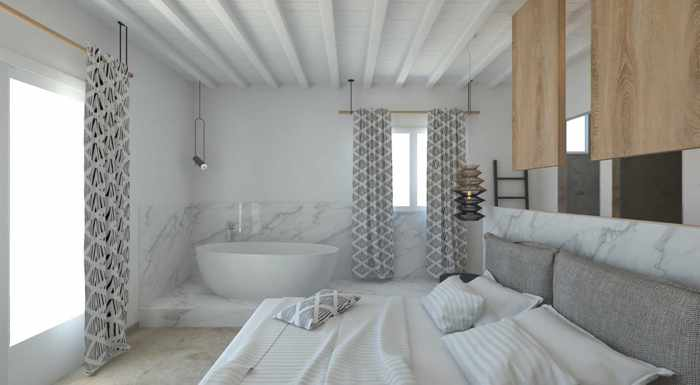 Apiro Mykonos hotel website photo of the interior of a junior suite with bathtub and sea view