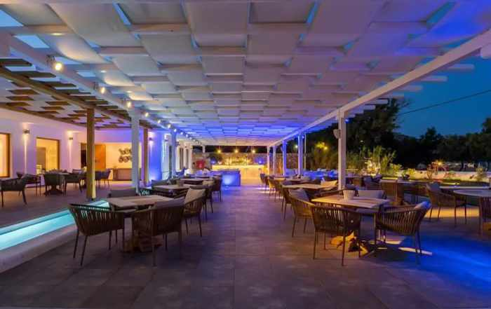 Blue Fusion Art Restaurant Mykonos open air dining patio photo from the restaurant page on Facebook