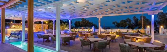 Blue Fusion Art Restaurant Mykonos patio photo from the restaurants website