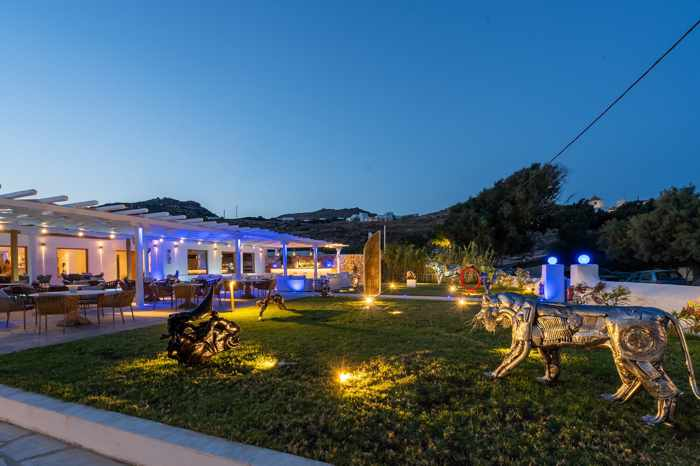 Blue Fusion Art Restaurant Mykonos sculpture garden photo 02 from the restaurant page on Facebook