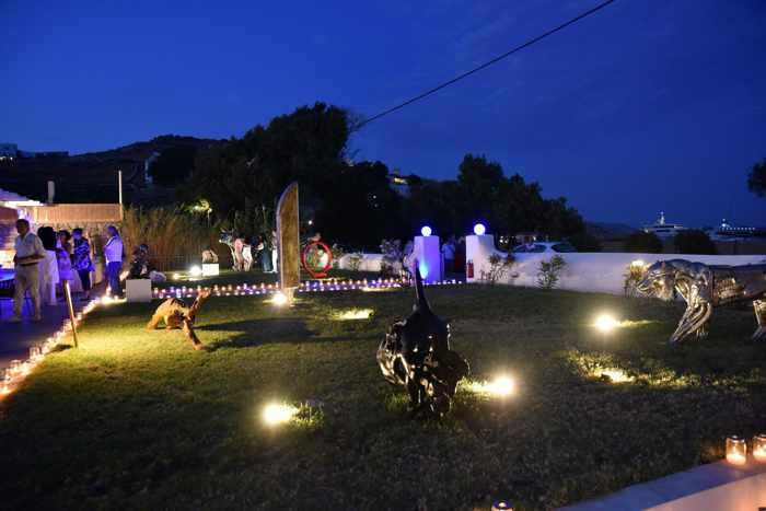 Blue Fusion Art Restaurant Mykonos sculpture garden photo from the restaurant page on Facebook