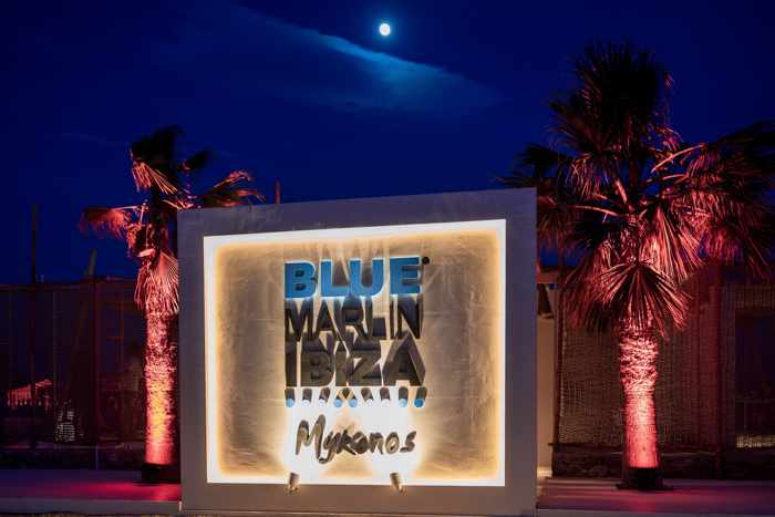 Blue Marlin Ibiza Mykonos signage photo from the clubs page on Facebook