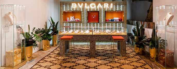 Bulgari pop up store on Mykonos seen in a photo from the Nammos Village shopping center page on Facebook