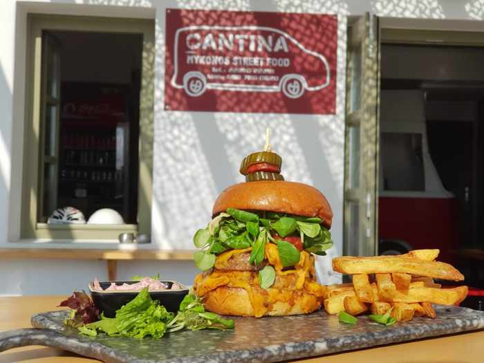 CantinaMykonos street food restaurant photo of its homemade burger dish