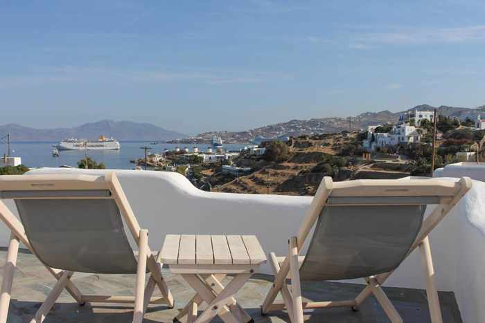 Crystal View Mykonos social media photo of the view from a patio at one of its studio apartments