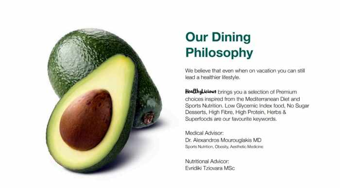 Healthylicious Mykonos Facebook statement of the restaurants dining philosophy