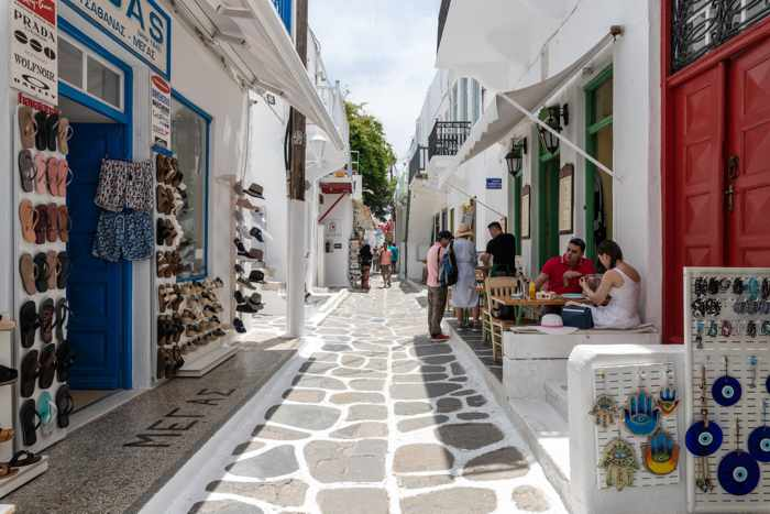 Matogianni Street view from outside the entrance to Geant Suites in Mykonos Town