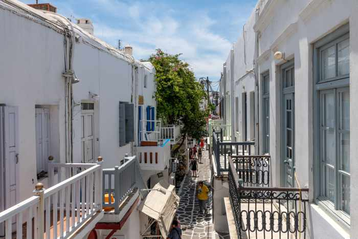 Matogianni Street view from the balcony at Geant Suites in Mykonos Town