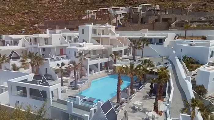 Screenshot from a video showing the new suites and villa wing at Tropicana Hotel on Mykonos