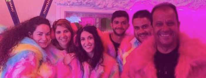 Partying in dayglo faux furs at Ice Bar Mykonos as seen in a photo from the bar page on Instagram