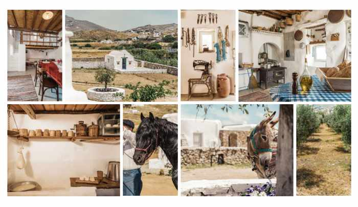 Photo collage from the website for Rizes Folklore Farmstead & Restaurant Mykonos