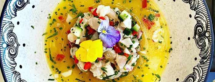 Sea bass tartare dish photo from the I Frati Mykonos restaurant page on Facebook
