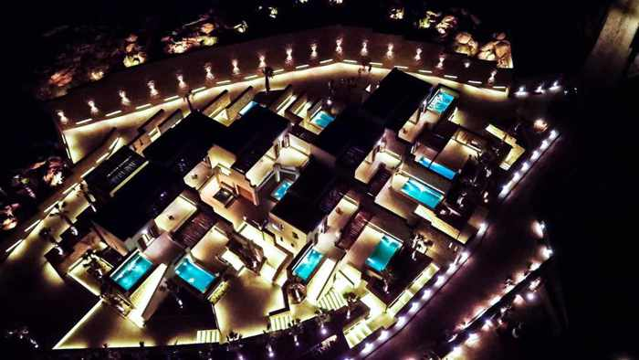 Tropicana Mykonos Facebook photo showing an aerial night view of the new suites and villa wing of Tropicana Hotel