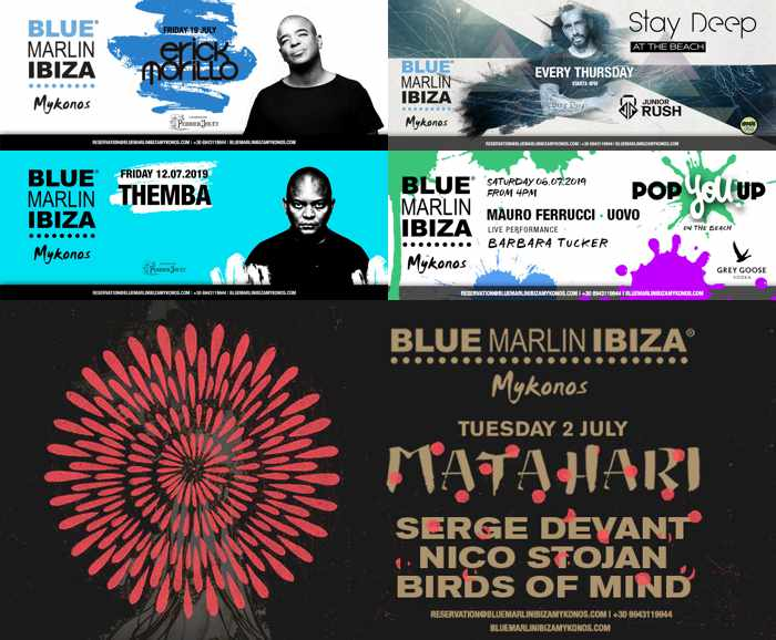 Blue Marlin Ibiza Mykonos advertisement posters for special music events at the club