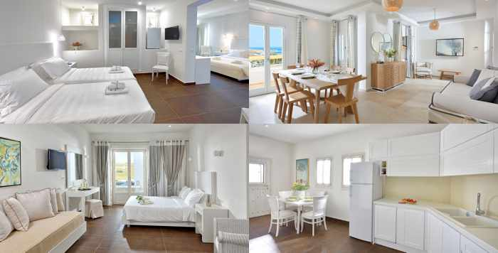 Social media photos of interiors of suites at Jennys Summer Houses on Mykonos