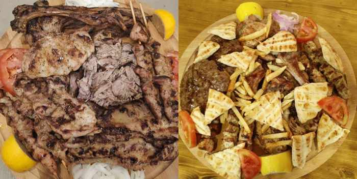 Specialty grilled meat platters seen in social media photos from Taverna Kandavlos on Mykonos