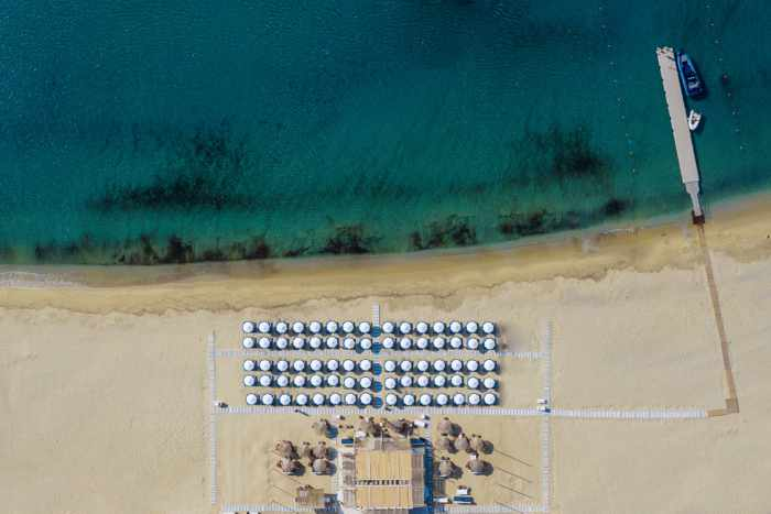 Aerial view of the Blue Marlin Ibiza Mykonos beach club at Kalo Livadi beach on Mykonos