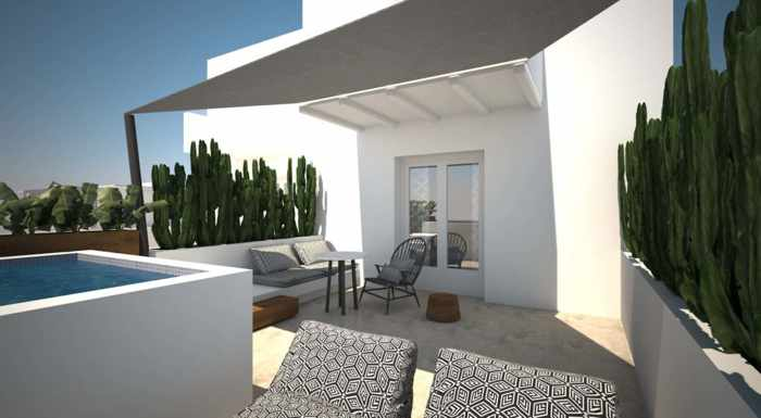 Apiro Mykonos image of the terrace for a superior suite with jacuzzi and side sea view