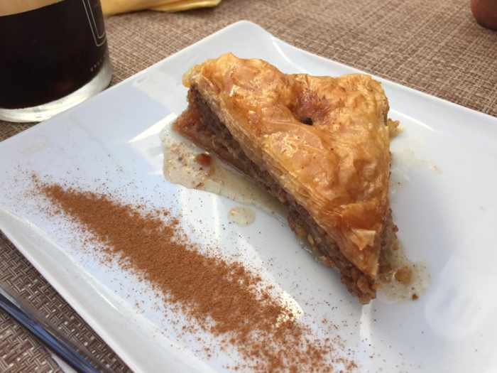 Avli Sweet Bar Mykonos website photo of its baklava dish