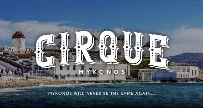 Cirque Mykonos promotional image to announce the arrival of the nightclub on the island
