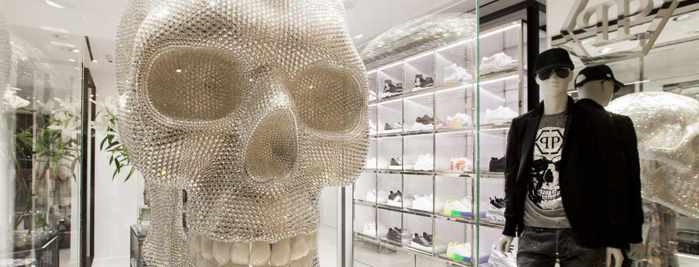 Displays inside the Philipp Plein boutique at Nammos Village shopping center on Mykonos