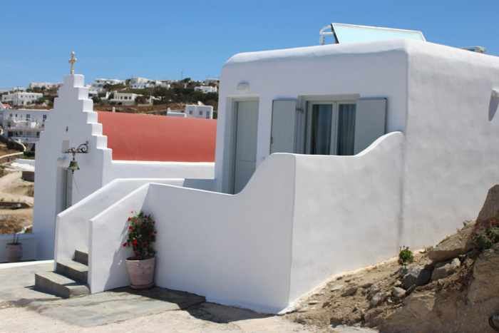 Hotel website photo showing an exterior view of one of the rooms at Crystal View Mykonos