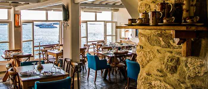 Kastro's Restaurant Mykonos interior seen in a photo from the restaurant website