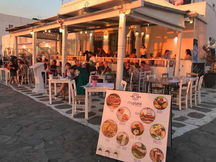 My Plate Mykonos restaurant seen at sunset in a photo from its page on Facebook